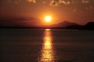 筑波山に沈む夕陽1